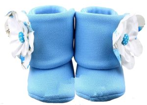 Beach Sky Blue Baby Girl Booties-Zuri Baby Couture