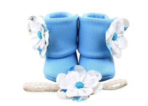 Beach Sky Blue Baby Girl Booties 18-24 Months