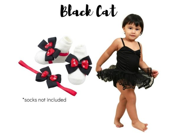 Black Ballerina Dress with Black and Red Barefoot Sandals and Headband Black Cat Set - Zuri Baby Couture PH