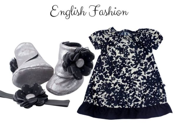 Baby Girl Dress Set: Baby Girl Fashion Dress With Booties And Headband: Black – English Fashion