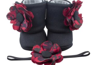 Goodbye Paris Baby Girl Booties And Headband Set