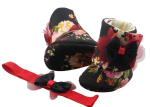 Don't Mess With This Hot Red Crème! Baby Girl Booties And Headband Set