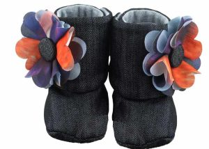 Black Midnight Sky Baby Girl Booties Angle 1-Zuri Baby Couture