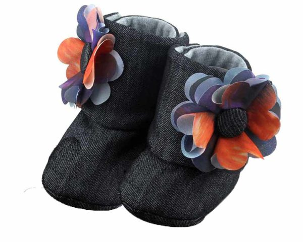 Black Midnight Sky Baby Girl Booties Angle 2-Zuri Baby Couture