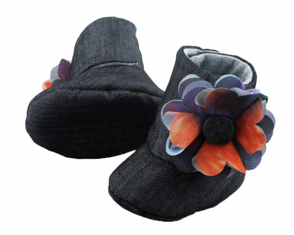 Black Midnight Sky Baby Girl Booties Angle 3-Zuri Baby Couture