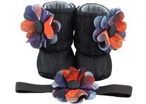 Midnight Sky Baby Girl Booties And Headband Set