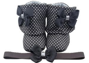 Black Panther Baby Girl Booties And Headband Set