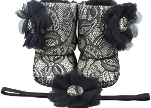 Old Hollywood Glam Baby Girl Booties And Headband Set