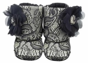 Black And Gray Old Hollywood Glam Baby Girl Booties Angle 1-Zuri Baby Couture