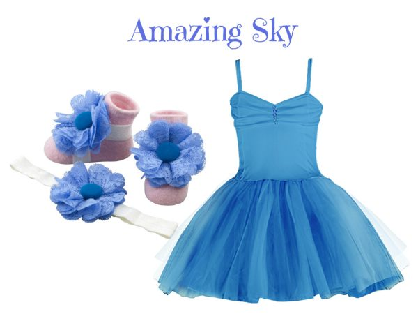 AMAZING SKY BABY GIRL DRESS SET 3-9 MONTHS