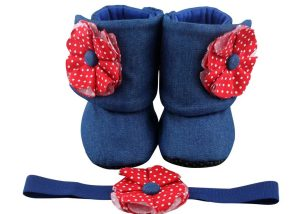 Denim & Red – Always In Style, Always Perfect. Baby Girl Booties And Headband Set