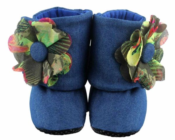 Blue Downtown Mod Baby Girl Booties Angle 1-Zuri Baby Couture