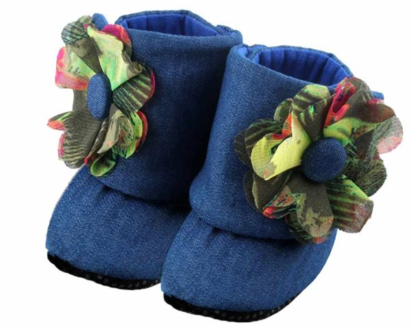Blue Downtown Mod Baby Girl Booties Angle 2-Zuri Baby Couture