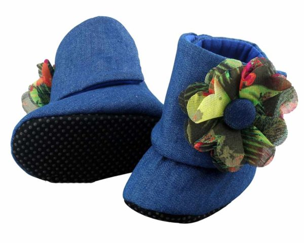 Blue Downtown Mod Baby Girl Booties Angle 3-Zuri Baby Couture