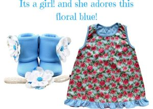 IT'S A GIRL AND SHE ADORES THIS FLORAL BLUE BABY GIRL DRESS SET 3-9 MONTHS