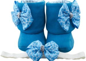 Pool Side Reflection Baby Girl Booties And Headband Set