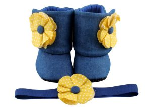 Twice As Nice! Baby Girl Booties And Headband Set