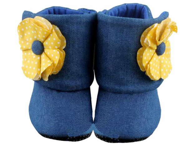 Blue Twice As Nice Baby Girl Booties Angle 1-Zuri Baby Couture