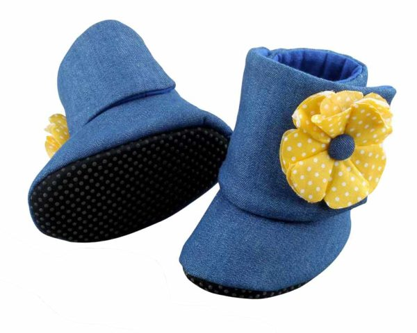 Blue Twice As Nice Baby Girl Booties Angle 2-Zuri Baby Couture