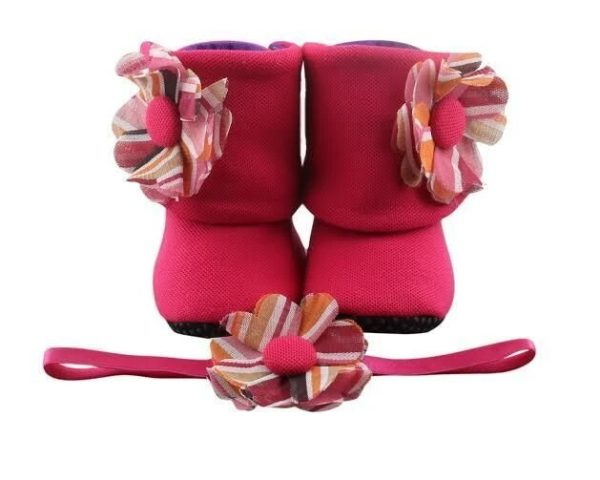 The Perfect Bright Pink Baby Girl Booties And Headband Set