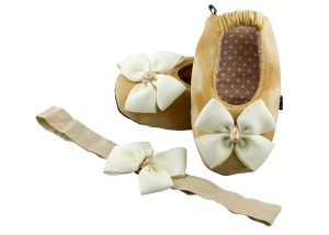 Butterscotch Baby Ballerina Shoes And Headband Set