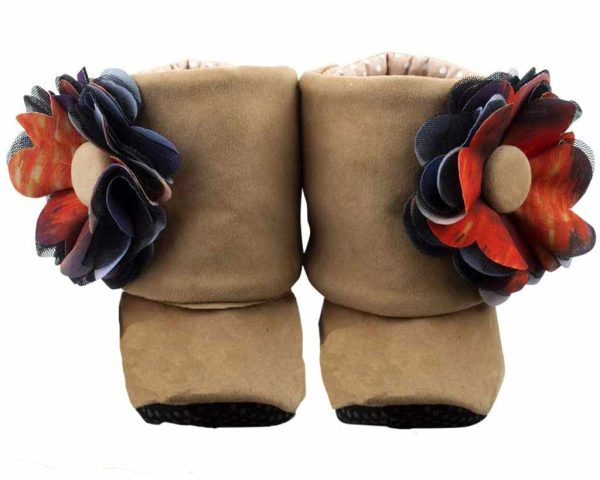 Brown Little Bear Baby Girl Booties Angle 1-Zuri Baby Couture