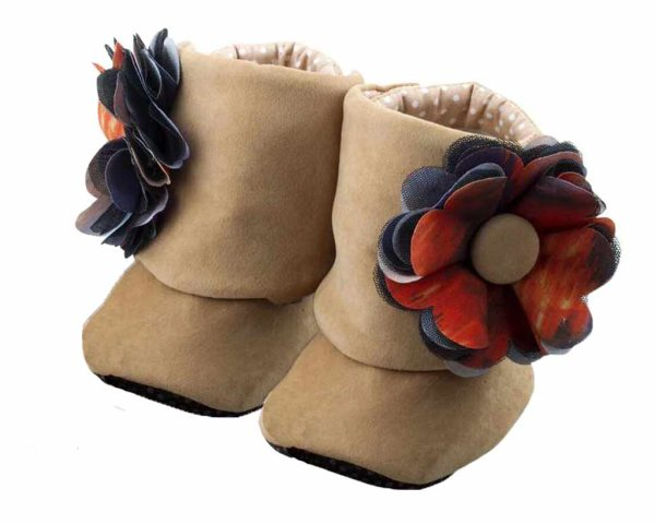 Brown Little Bear Baby Girl Booties Angle 2-Zuri Baby Couture