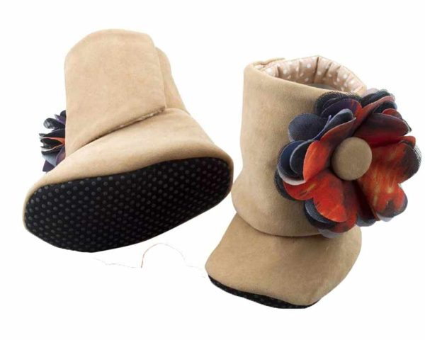 Brown Little Bear Baby Girl Booties Angle 3-Zuri Baby Couture