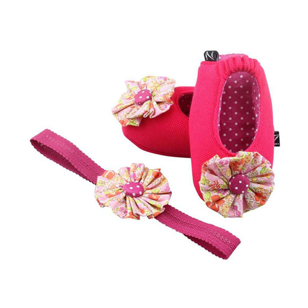 Floral Pink Coney Island Cotton Candy Ballerina Shoes and Headband Set - Zuri Baby Couture PH