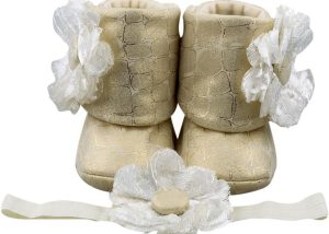 Ice Cream Dream Baby Girl Booties And Headband Set