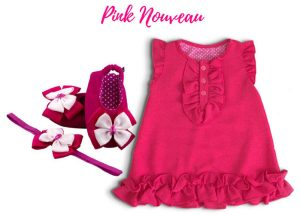 Crepe Chiffon Baby Dress With Ballerina Shoes & Headband