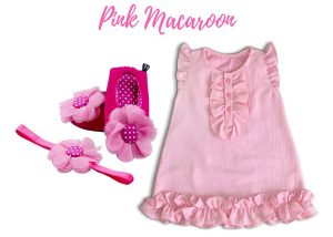 Pink Macaroon Baby Girl Dress Set 3-9 Months
