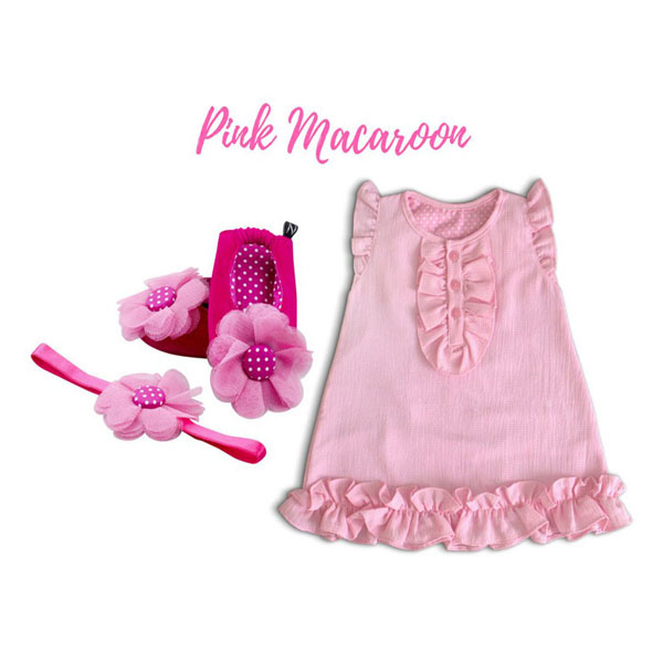 Crepe Chiffon Baby Girl Dress With Ballerina Shoes And Headband