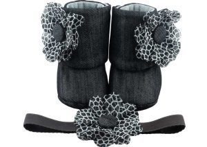 Denim Black – And Basically Fabulous! Baby Girl Booties And Headband Set