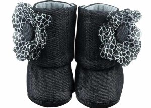 Denim Black Baby Girl Booties Only Angle 1-Zuri Baby Couture
