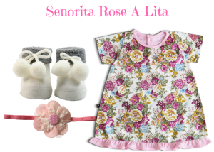 Senorita Rose-A-Lita Baby Girl Dress Set 0-6 Months