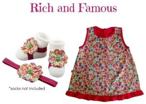 Baby Girl Dress Set: Japanese Cotton Baby Girl Dress with Barefoot Sandal and Headband For Infants