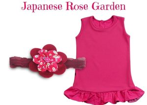 JAPANESE ROSE GARDEN BABY GIRL DRESS SET 9-18 MONTHS