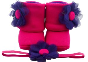 Fuchsia The Explorer Baby Girl Booties And Headband Set
