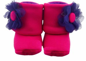 Fuchsia The Explorer Baby Girl Booties Angle 1-Zuri Baby Couture