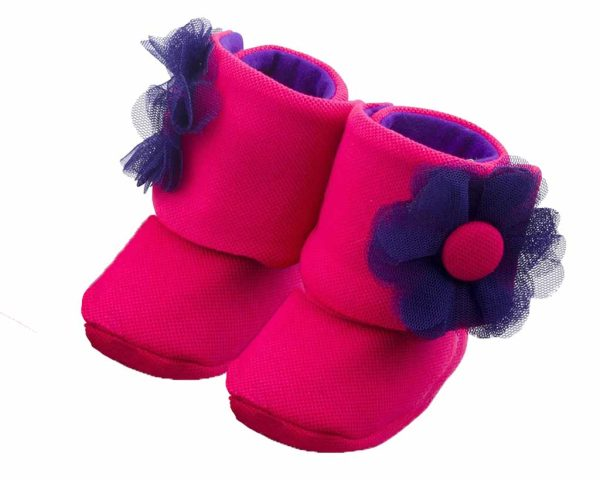 Fuchsia The Explorer Baby Girl Booties Angle 2-Zuri Baby Couture