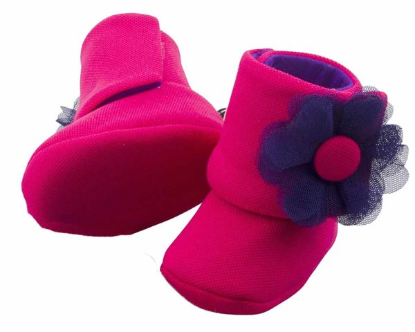 Fuchsia The Explorer Baby Girl Booties Angle 3-Zuri Baby Couture