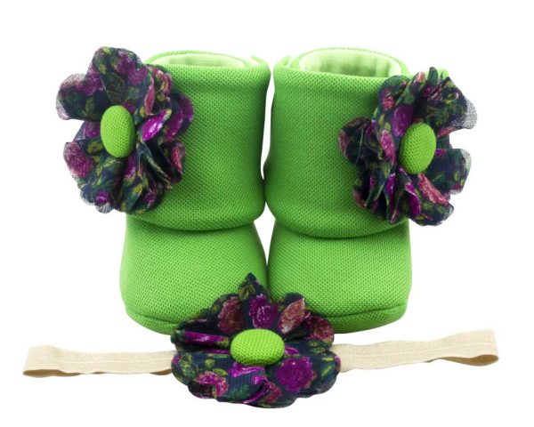 Classic Florals Baby Girl Booties And Headband Set