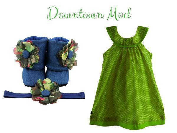Sundress With Booties Set: Green – Downtown Mod For 9-18 Months