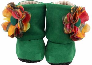 Green Sunrise Dolly Baby Girl Booties No Headband-Zuri Baby Couture