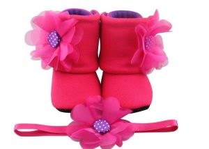 Hot Pink Merliah Baby Girl Booties And Headband Set