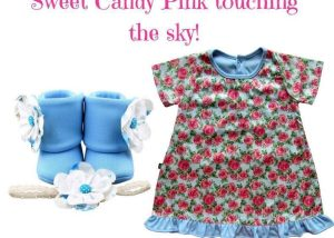 SWEET CANDY PINK TOUCHING THE SKY BABY GIRL DRESS SET 3-9 MONTHS