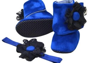 Midnight Blue Baby Girl Booties And Headband Set