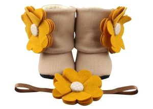 Sweet Amber Baby Girl Booties And Headband Set