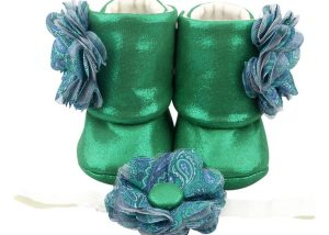 Mystic Green Baby Girl Booties And Headband Set